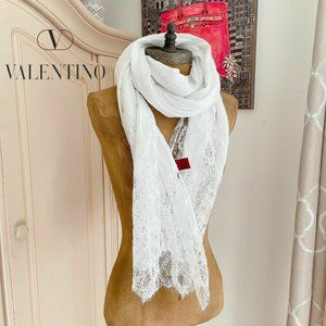 Valentino White Crinkled Cotton Scalloped Scarf